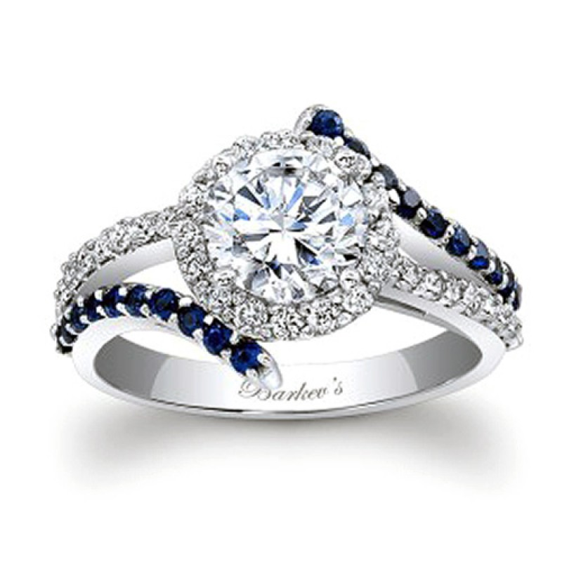 fc7512b0c Barkev's Designer Diamond Halo Style Engagement Ring with 0.65 ct in  Diamonds and Blue Sapphires 7857LBSW
