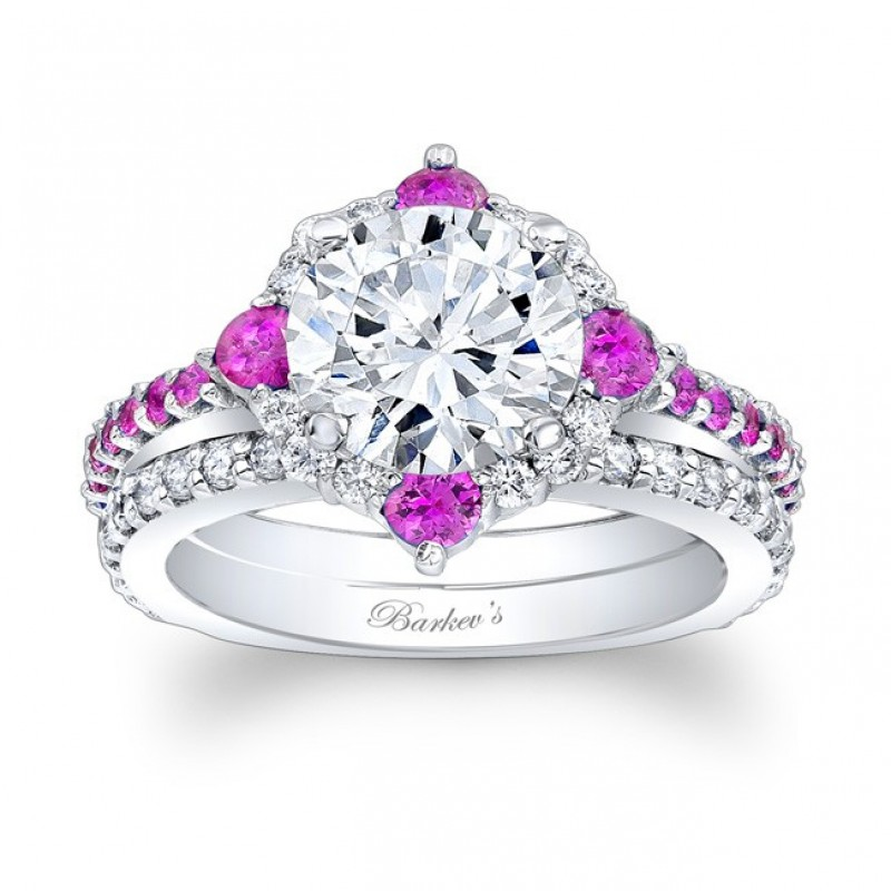 8f5951a3a Barkev's Designer Diamond and Pink Sapphire Halo Bridal set Ring in 14KT  White Gold with 0.68 ct in diamonds and 0.76 ct in Pink Sapphires 7967SPSW