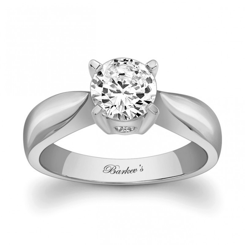 Barkev's Designer Round Cut Solitiare Style Engagement Ring in 14KT White Gold 5196LW