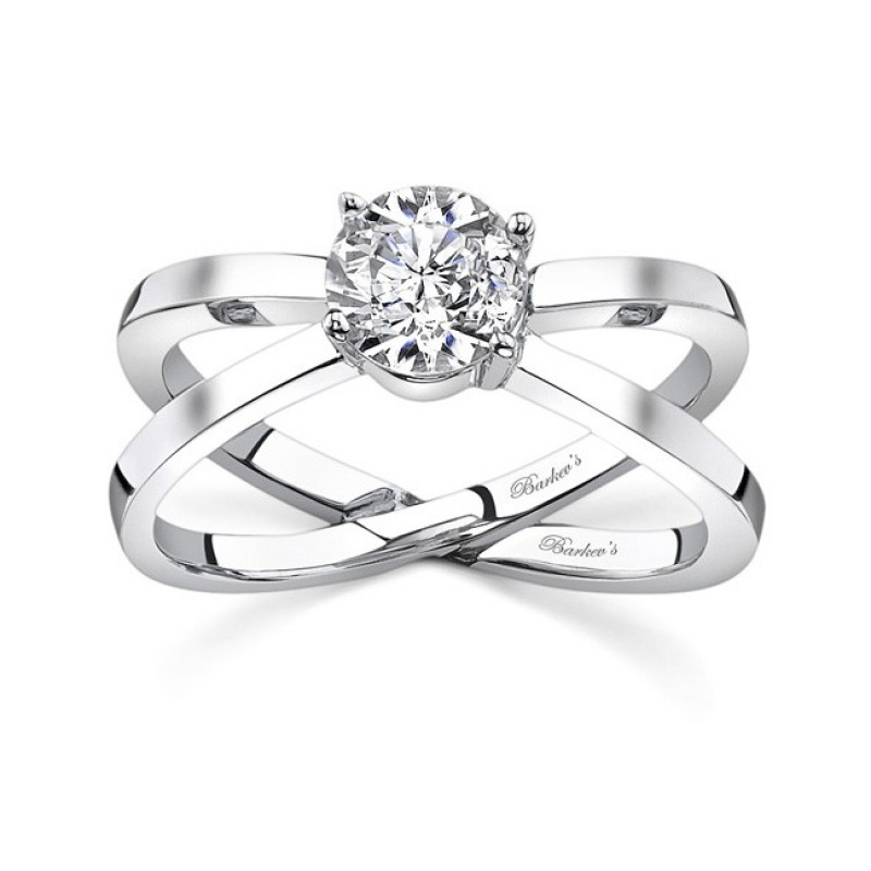 Barkev's Designer Round Cut Diamond Solitaire Engagement Ring in 14KT White Gold 7625LW