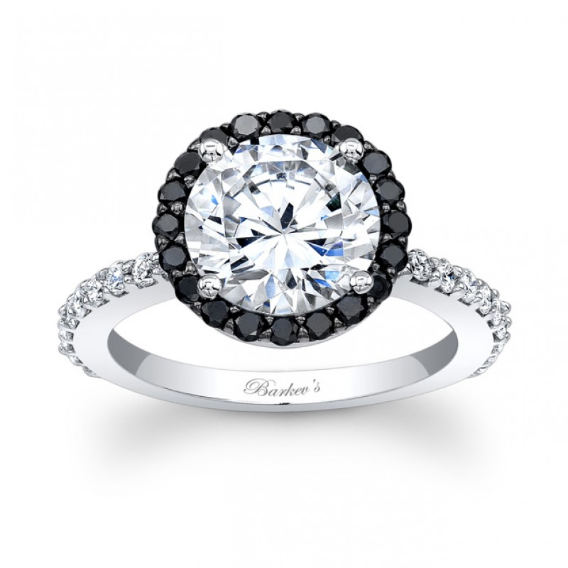 Barkev's Designer Diamond Engagement Ring in 14KT White Gold with 0.63 ct in Round Cut Black and White Diamonds 7839LBKW