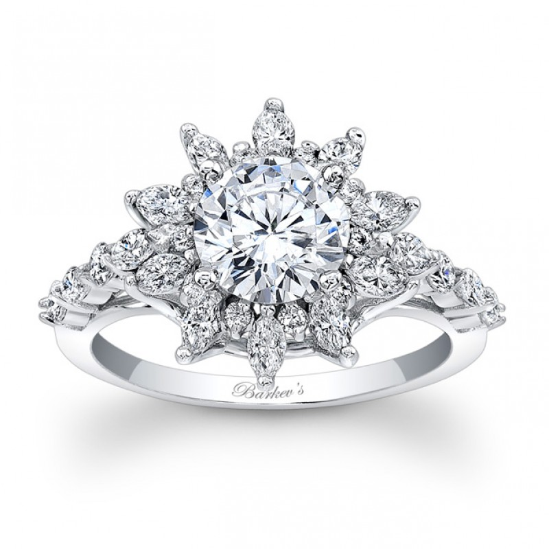 14KT White Gold Barkev's Halo Diamond Engagement Ring with 0.88 ct in Diamonds 7910LW