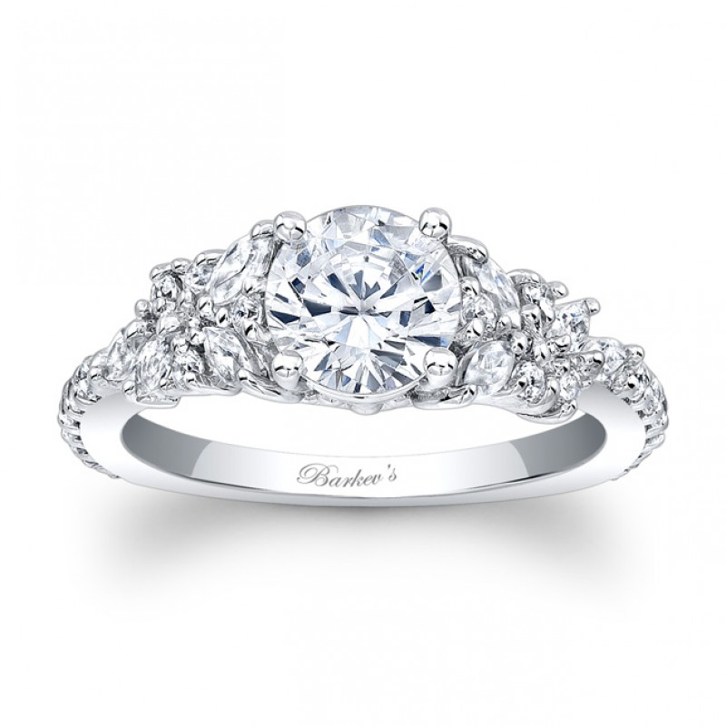 Barkev's Designer Diamond Engagement Ring in 14KT White Gold with 0.72 ct in Marquise and Round Diamonds 7932LW