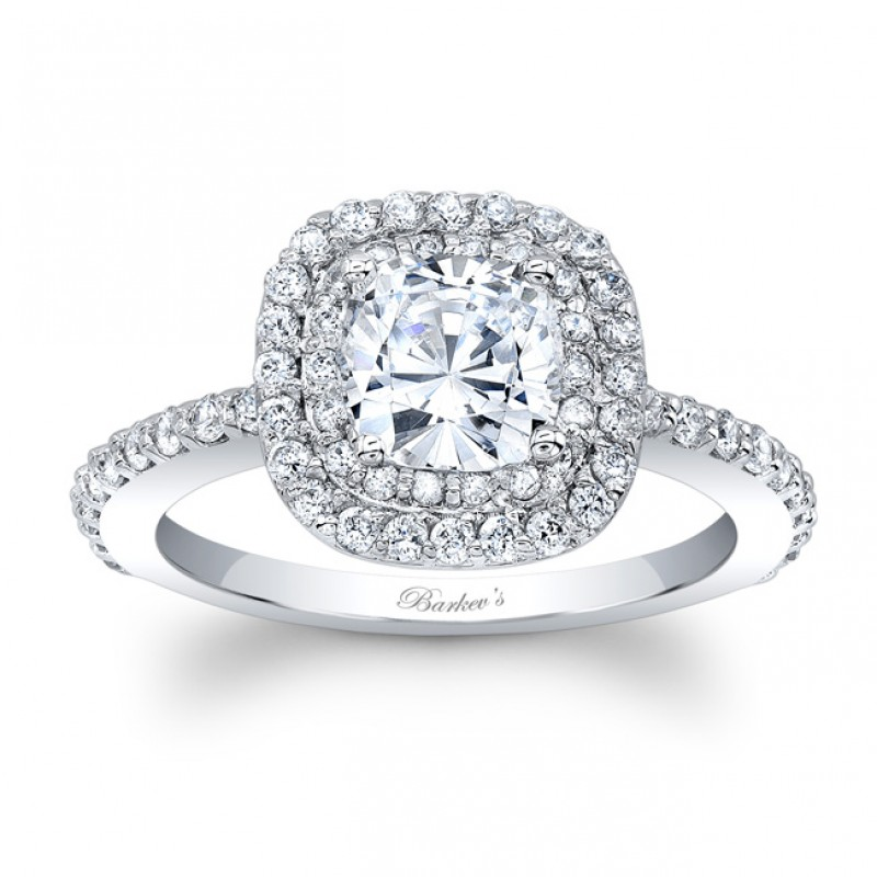 Barkev's Designer Halo Engagement Ring in 14KT White Gold with 0.38 ct in side diamonds 8028LW