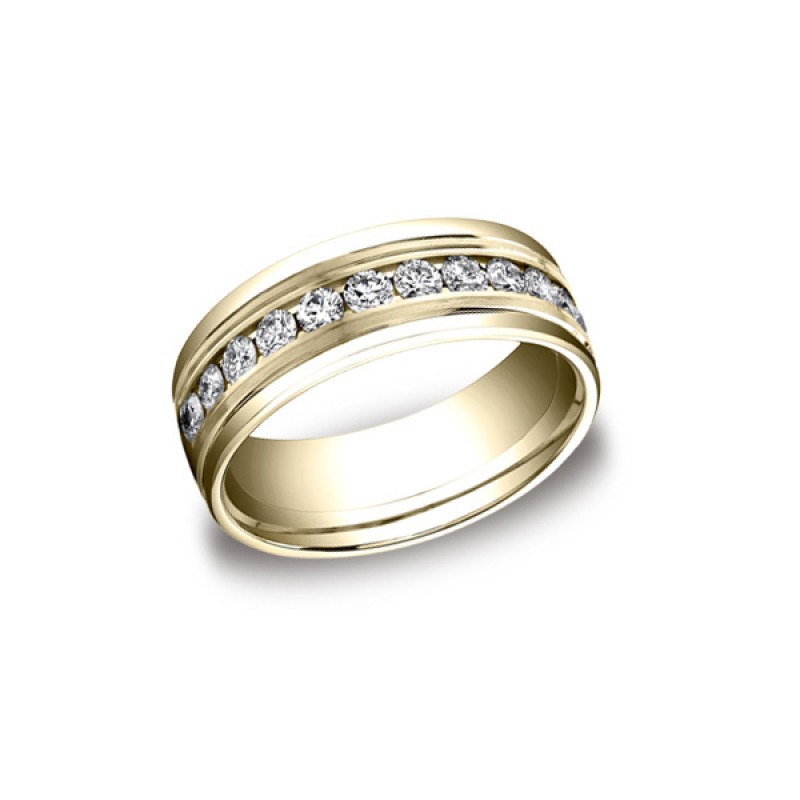 Diamonds Yellow Gold 8mm Diamond Band