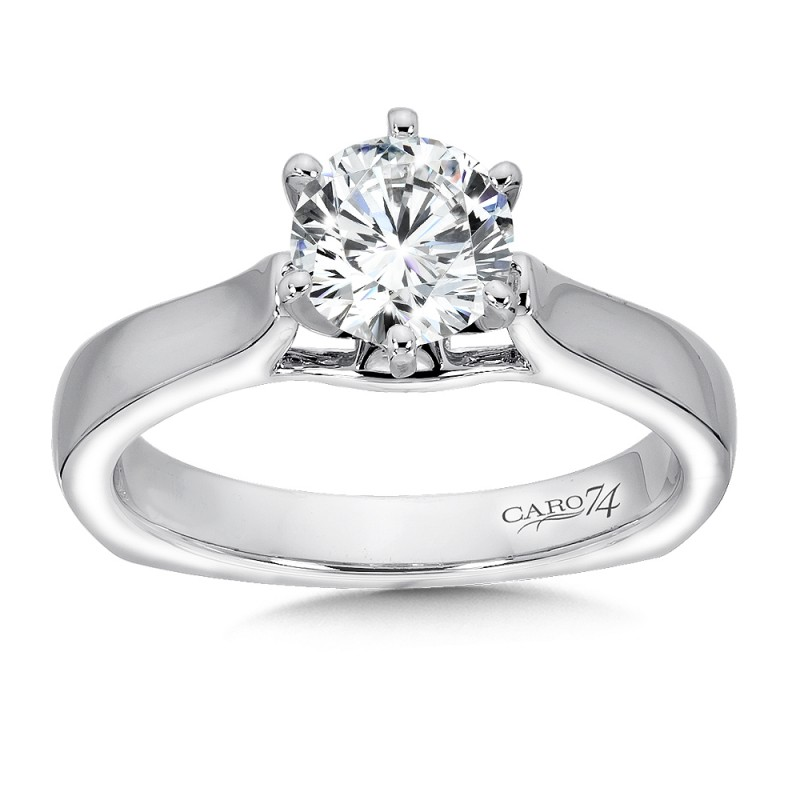 Caro74 Designer Round Cut 14K White Gold Diamond Engagement Ring CR255W