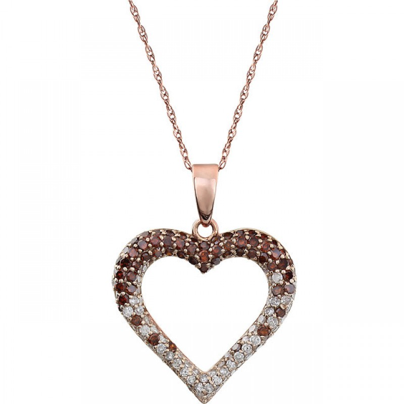 0.50 ct tw Pink & White Diamond Heart Necklace in 14KT Rose Gold with an 18 inch chain 651413