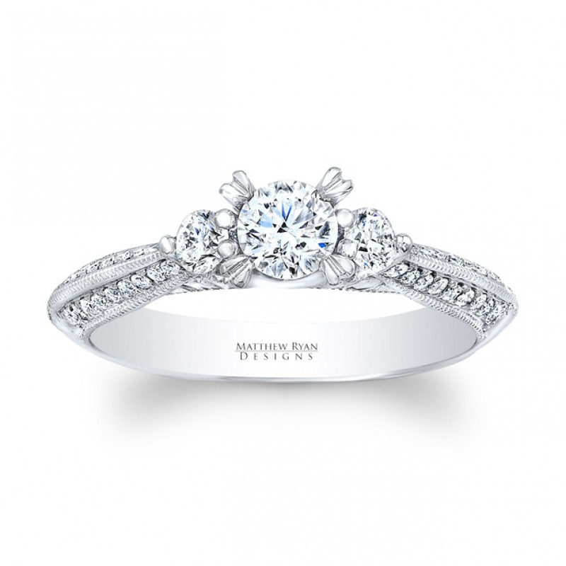 14KT White Gold Matthew Ryan Designs Round cut Diamond 3 stone ring with 0.52 ct in side diamonds MRDG-219