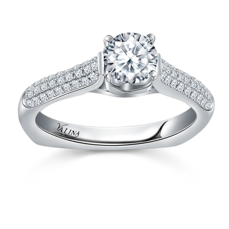 Valina Engagement Bridal Set Ring in 14KT White Gold with 0.27 carat in Round side Diamonds R042W_BW
