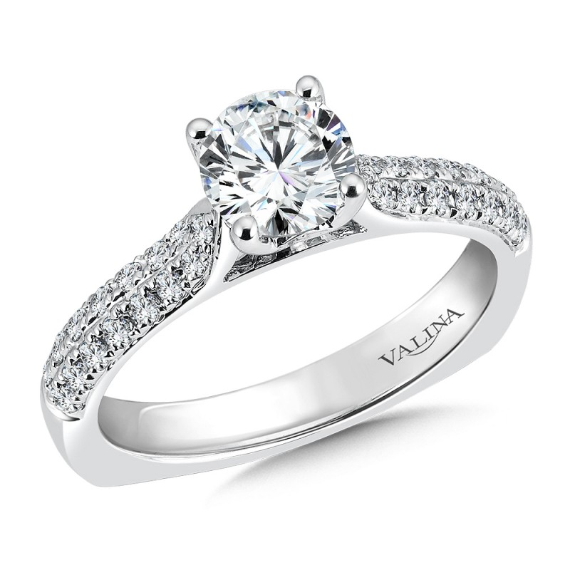 Valina Engagement Bridal Set Ring in 14KT White Gold with 0.33 carat in Round side Diamonds R9464W_BW