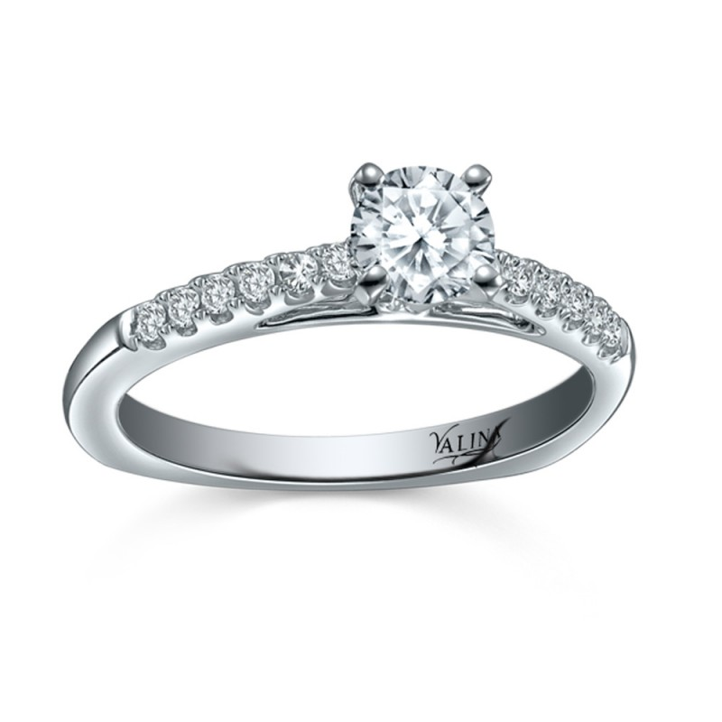Valina Bridal Engagement Set Ring in 14KT White Gold with 0.13 carat in Round Diamonds RQ9347W-BW