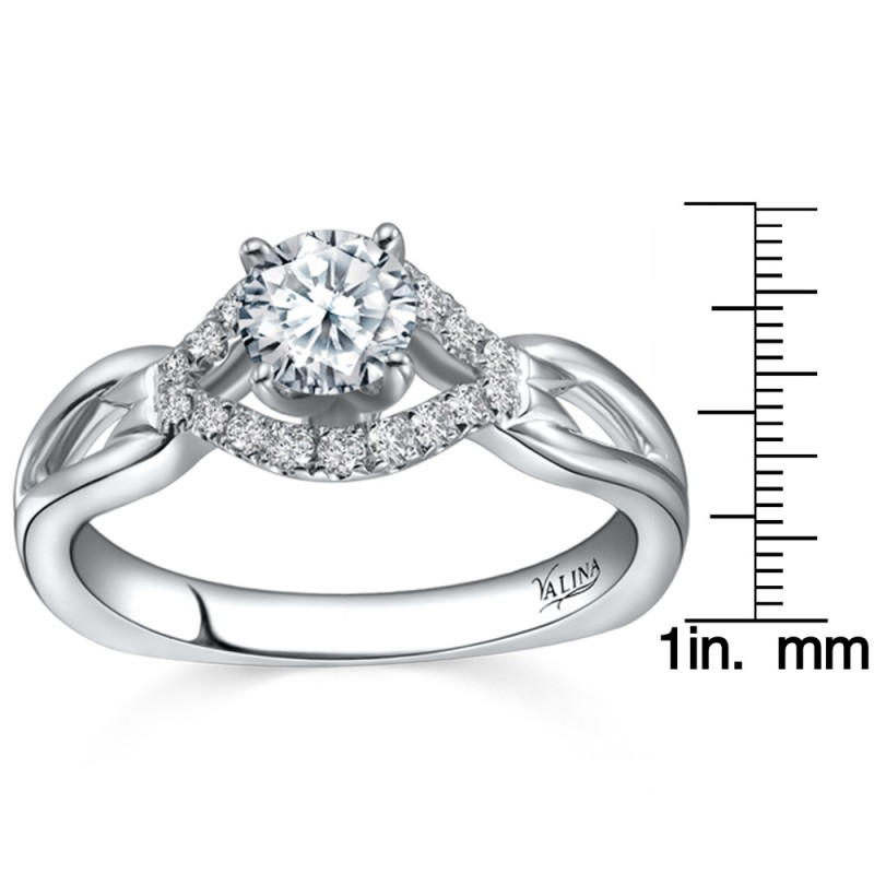 Valina Engagement Bridal Set Ring in 14KT White Gold with 0.14 carat in Round side Diamonds RQ9349W_BW