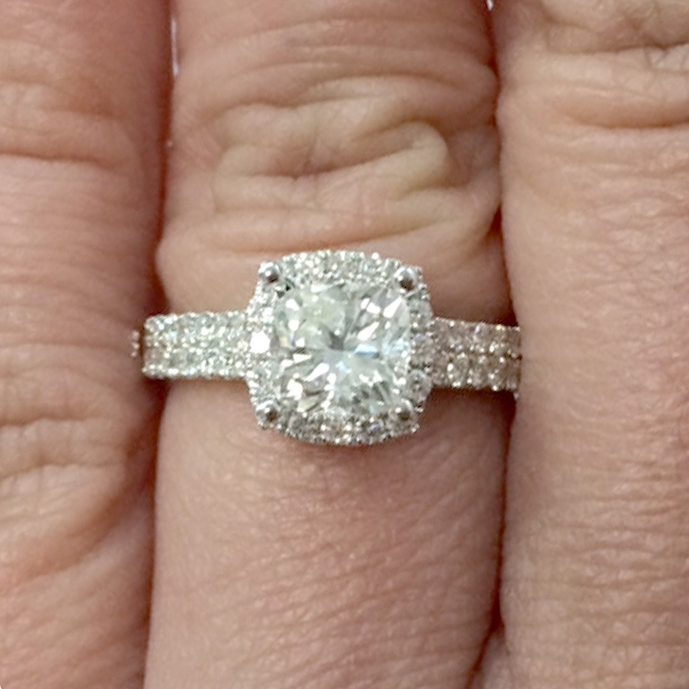 Danital Cushion Cut Diamond Engagement Ring Halo style in 18KT White Gold #18168