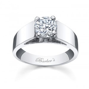 Barkev's Designer Round Cut Diamond Solitaire Engagement Ring in 14KT White Gold 2303LW