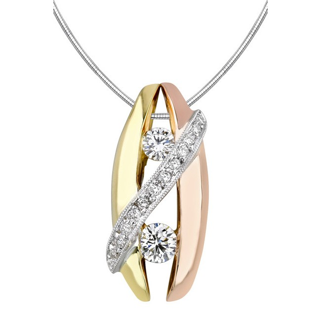 Barkev's Tri Color Diamond Pendant with 0.69 ct of Round Diamonds 7002NW