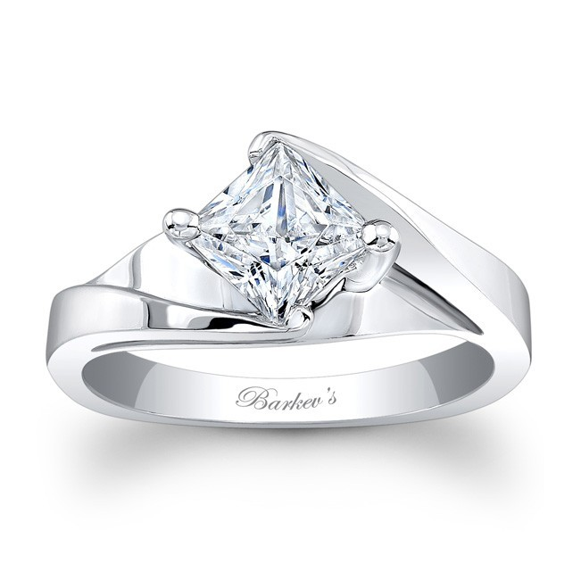 Barkev's Designer Princess Cut Solitaire Diamond Engagement Ring in 14KT White Gold 7923LW