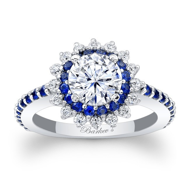 Barkev's Designer Halo Diamond Engagement Ring in 14KT White Gold with 0.74 ct in Round Cut White Diamonds and Blue Sapphires 7969LBSW