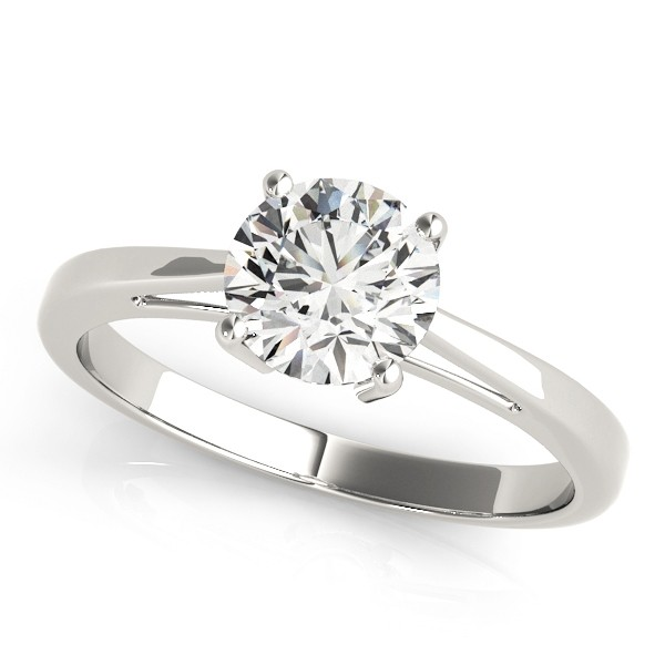 Charles and Colvard Round 6.5 MM Round Cut Forever Brilliant Moissanite Center stone Solitaire Engagement Ring in 14KT White Gold MRD 82892
