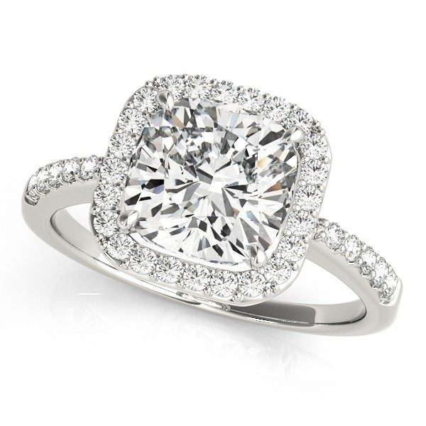 Charles and Colvard Moissanite 6x6 MM Cushion Cut Halo style Diamond Engagement Ring in 14KT White Gold MR83503