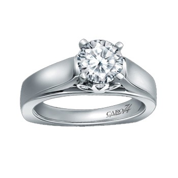 Caro74 14K White Gold Solitaire Engagement Ring Setting CR128W