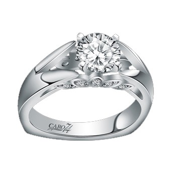 Caro74 14K White Gold Diamond Engagement Ring Setting CR130W