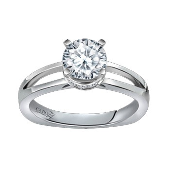 Caro74 14K White Gold Solitaire Engagement Ring Setting CR139W