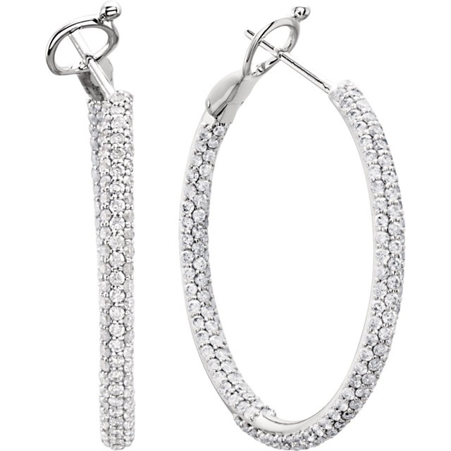14K White Gold Inside and Outside Diamond Hoop Earrings with 2.00 carat Total Weight in Diamonds MRD 68229:101