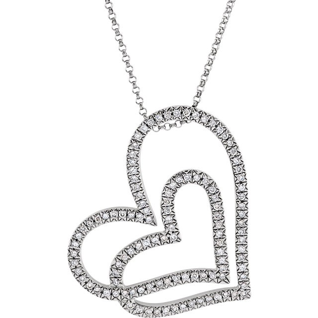 0.50 ct tw Round Diamond Heart Necklace in 14KT White Gold with an 18 inch chain 63805