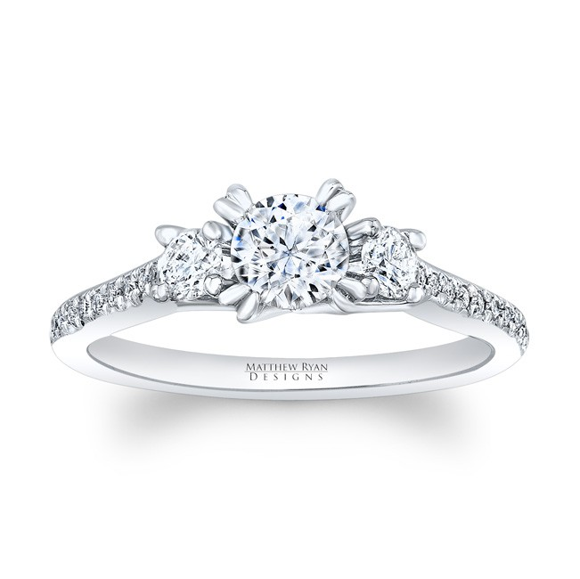 Matthew Ryan Designs Diamond 3 Stone Engagement Ring with diamond accents in 14KT White Gold MRDG-164