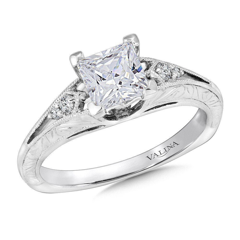 Valina Designer Princess Diamond Engagement Ring in 14KT White Gold with 0.06 ct in side diamonds R9426W