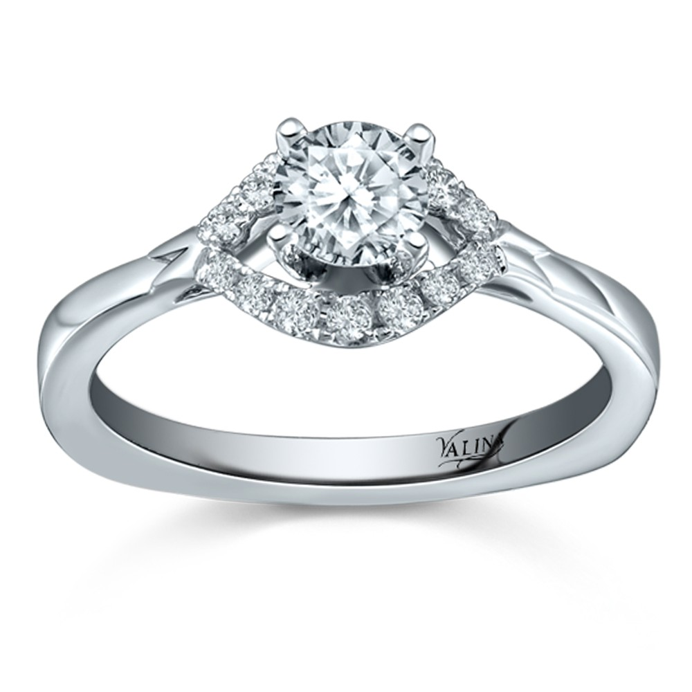 Valina Engagement Bridal Set Ring in 14KT White Gold with 0.14 carat in Round side Diamonds RQ9343W-BW
