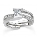 White gold diamond engagement ring set - 7154SW