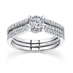 Barkev's Designer Bridal 2 piece set in 14KT White Gold with 0.35 ct of Round Cut side Diamonds 7334SW