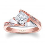 Barkev's Designer Diamond Engagement Ring in 14KT Rose Gold with 0.15 ct in Round Cut Diamonds 7922LTW