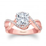 14KT Rose Gold Barkev's Designer Round cut Engagement Ring with 0.31 ct in side diamonds 8020LPW