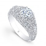 Beverly Kay Designer Vintage Semi Mount Engagement Ring in 18KT White Gold  R123_A