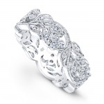 R813-D,D FLORAL BAND WITH DIAMOND BEZEL CLUSTER