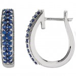 Matthew Ryan Design 14K White Gold Hoop Earrings with Round Cut Blue Sapphires MRD 651258:70001