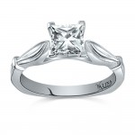 Valina Designer Engagement Bridal Ring in 14KT White Gold with 0.01 ct in Round side diamond R9416W_BW