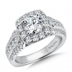 Valina Engagement Bridal Set Ring in 14KT White Gold with 1.04 carat in Round side Diamonds R9520W_BW