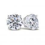 14K White 7.50 mm Round Forever One Quality™ Charles and Colvard Moissanite Stud Earrings in Screw Backs 1116