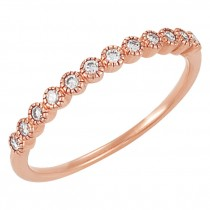 1/6 Carat Total Diamond Weight Bezel Set Anniversary Band with Milgrain in 14KT Rose Gold 63008