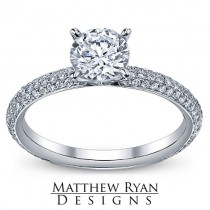 Matthew Ryan Design Diamond Engagement Ring in 14KT White Gold with 0.75 ct in side Diamonds MRD0103
