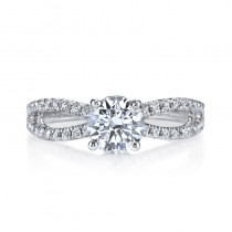 Mars Designer 14KT White Gold Diamond Engagement Ring with 0.60 ct in side diamonds 26097