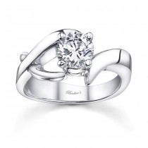 Barkev's Designer Round Cut Diamond Solitaire Engagement Ring in 14KT White Gold 7660LW