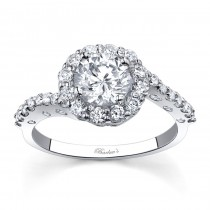 White Gold Halo Engagement Ring - 7787LW
