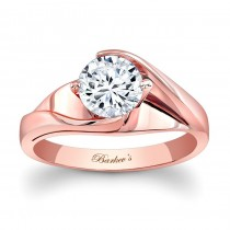 Barkev's Designer Round Cut Diamond Solitaire Engagement Ring in 14KT Rose Gold 7802LPW