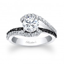 Barkev's Designer Diamond Engagement Ring in 14KT White Gold with 0.61 ct in Round Cut Black and White Diamonds 7848LBKW