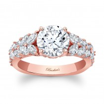14KT Rose Gold Barkev's Designer Round cut Engagement Ring with 1.04 ct in side diamonds 8022LPW