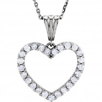 "1.00 ct tw Diamond Heart Necklace in 14kt White Gold with an 18"" chain  67533"